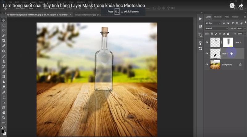 làm trong suốt chai thủy tinh bằng photoshop